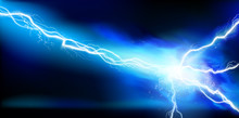 Large Electrical Discharge. Electrical Energy. Heat Lighting. Light Effects. Vector Illustration.