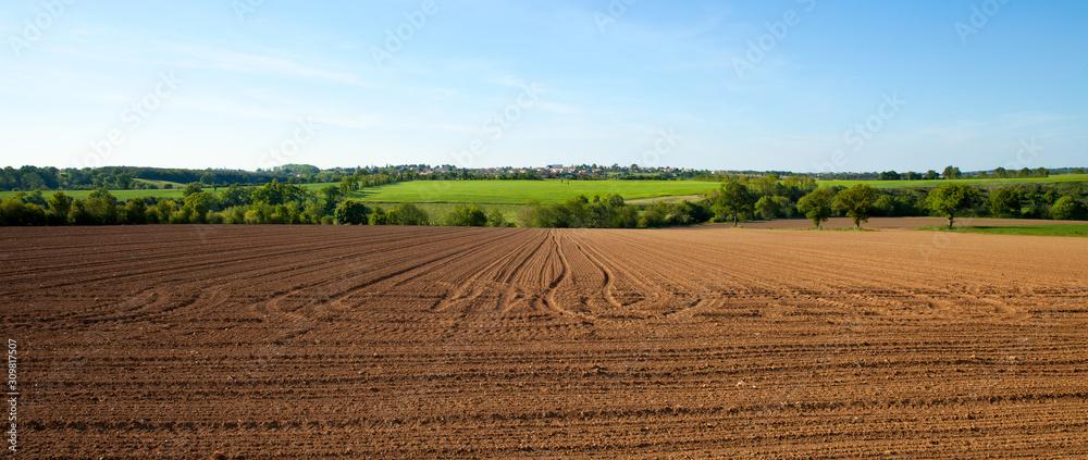 Fototapeta Paysage de campagne en été dans la campagne française.