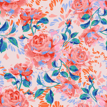 Floral Seamless Pattern Made Of Gorgeous Large Roses. Acrilic Painting With Flower Buds And Leaves. Botanical Illustration For Fabric, Textile, Wallpaper And Surface.