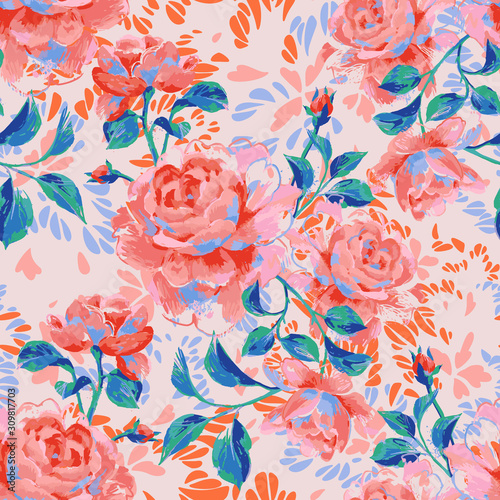 Fototapeta Floral seamless pattern made of gorgeous large roses. Acrilic painting with flower buds and leaves. Botanical illustration for fabric, textile, wallpaper and surface. obraz
