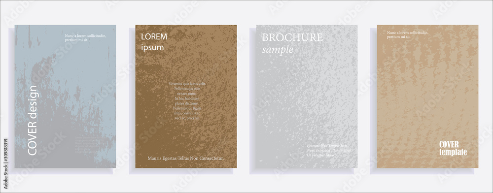 Fototapeta Minimalistic cover design templates. Set of layouts for covers of books, albums, notebooks, reports, magazines. Vintage texture gradient effect, flat modern abstract design. Grunge mock-up texture