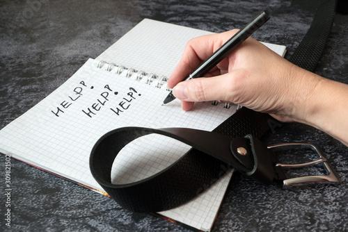 post traumatic stress, post traumatic stress disorder, write, notebook, belt, fa Fototapeta