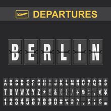 Flight Info Of Destination Germany Flip Alphabet Airport Departures, Berlin