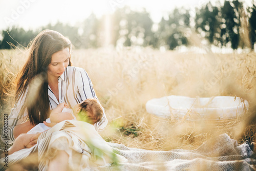 Obraz Little baby girl breast feeding in nature meadow at the sunset . - fototapety do salonu