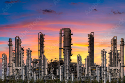 Fototapeta Power plant for Industrial at twilight obraz