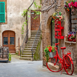 Fototapeta Uliczki - Beautiful alley in Tuscany, Old town, Italy