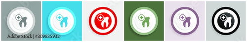Dentist icon, dental, tooth vector illustrations in 6 colors options for web design and mobile applications in eps 10