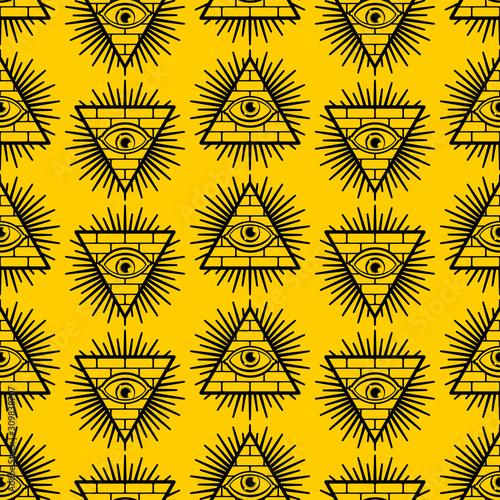 Fototapeta Pyramid with an eye pattern seamless
