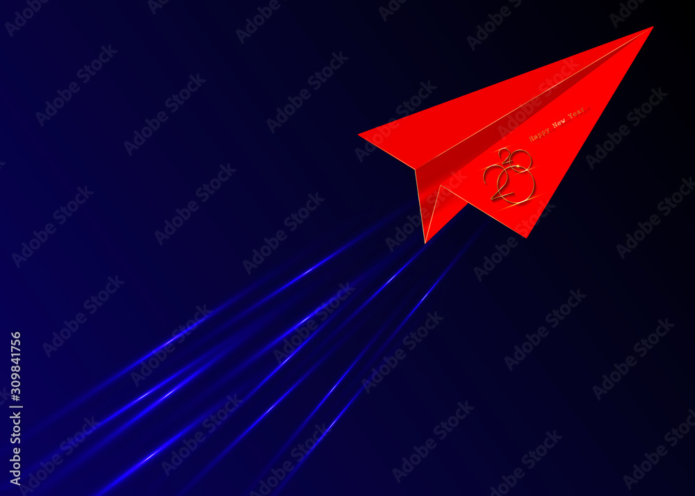 Fototapeta red origami flying envelope in the space, Golden 2020 New Year logo, red paper cuting airplane, Christmas theme, vector illustration. Holiday design for greeting card, invitation, calendar, party