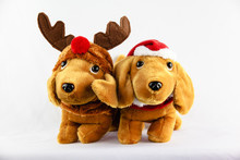 Two Cuddly Christmas Puppy Teddies