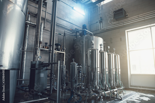 Drinking water factory production, industrial interior Fototapet