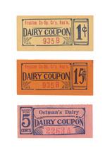 Milchschein Milchticket Dairy Ticket Vintage Retro Englisch English Dairy Coupon 1 Cents Ostman's Dairy Gelb Yellow Orange Pink Old Alt USA Amerika