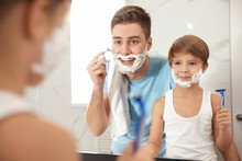 Dad Shaving And Son Imitating ...