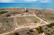 Paphos Lighthouse, Cyprus, aerial view from drone. Located in Paphos archeological park on mediterranean seaside or coast, built in 1888.