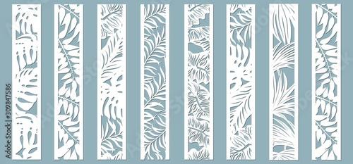 Fotografia Laser cut ornamental panels with tropical pattern