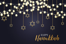 Happy Hanukkah. Traditional Jewish Holiday. Chankkah Banner Background Design Concept. Judaic Religion Decor With Menorah, Candles, David Star. Vector Illustration.