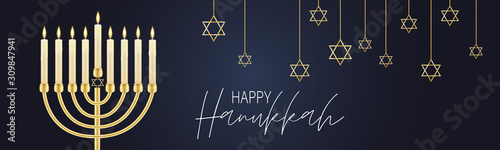 Fototapeta Happy Hanukkah. Traditional Jewish holiday. Chankkah banner or website header background design concept. Judaic religion decor with Menorah, candles, David star. Vector illustration. obraz