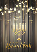 Happy Hanukkah. Traditional Jewish Holiday. Chankkah Banner, Poster Or Flyer Design Concept, Blue Background. Judaic Religion Decor With Menorah, Candles, Golden Lettering, Wooden Board.