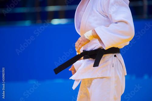 Obraz na płótnie Judo fighter poses in white kimono with black belt