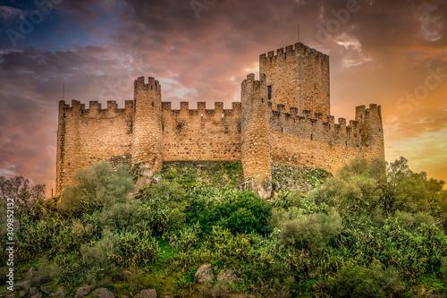Almourol castle built by the templar knights on an island in the Tagus river nea Canvas Print