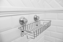 Suction Cups Compact Bath Shelf, Fixing On Tiled Wall Without Drilling.