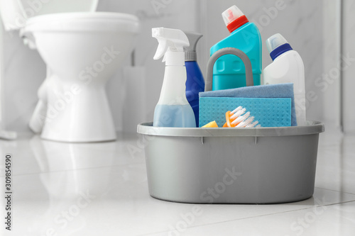 Fotomural  Cleaning supplies and toilet bowl in bathroom