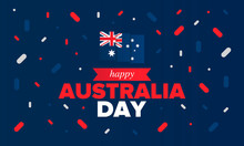 Australia Day. National Happy Holiday, Celebrated Annual In January 26. Australian Flag. Patriotic Elements. Poster, Card, Banner And Background. Vector Illustration