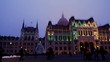 Sunset Time lapse of the Parliament building in Budapest with christmas tree,