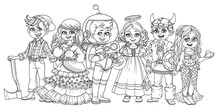 Children In Carnival Costumes Fortune Teller, Astronaut, Lumberjack, Viking, Mermaid, Angel Characters Outlined For Coloring Page
