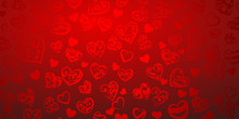 Background Of Big And Small Hearts With Ornament Of Curls, In Red Colors