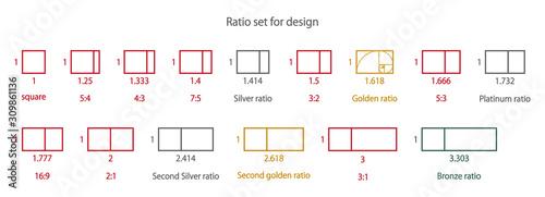 Fototapeta デザインの為の美しい比率セット obraz