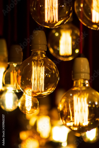 Group of Light bulbs on Black background