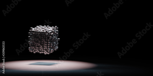 Cubes Aggregation Spotlighted on Black Background Wallpaper Mural