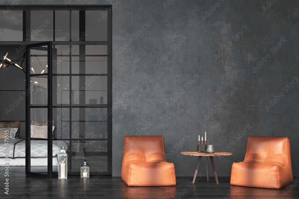 Fototapeta Living room interior in loft, industrial style, 3d render