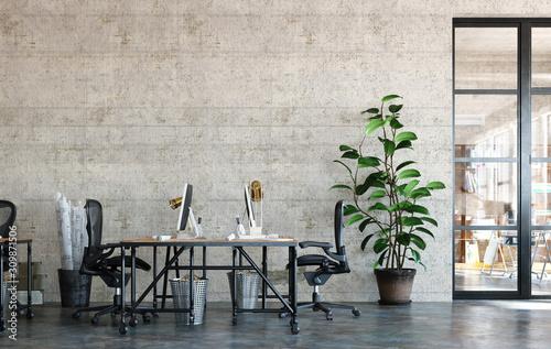 Obraz Office interior in loft, industrial style, 3d render - fototapety do salonu