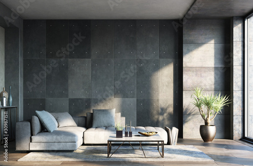 obraz PCV Living room interior in loft, industrial style, 3d render