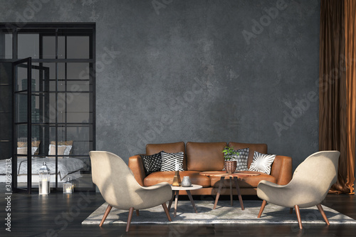Living room interior in loft, industrial style, 3d render