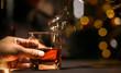 Bartender Serve Whiskey, on wood bar, M