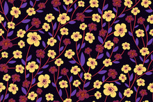 Floral Print With Purple And L...