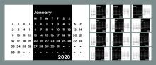 2020 Perpetual Style Monochrome Calendar Vector Template