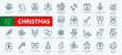 Christmas elements - minimal thin line web icon set. Outline icons collection. Simple vector illustration.