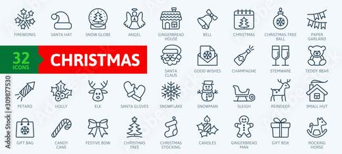 Valokuvatapetti Christmas elements - minimal thin line web icon set