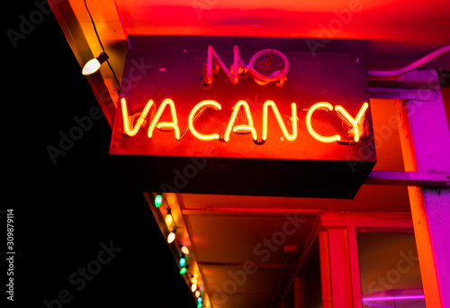 Neon Red Vacancy Sign