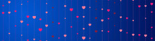Pink Hearts On Blue Background...