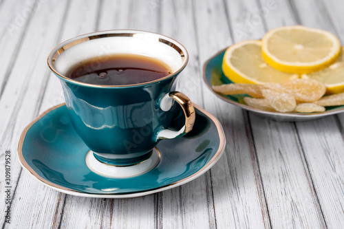 Free Photo | Hot coffee cup set on wooden table