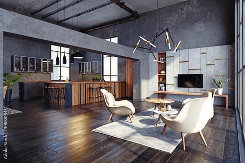 modern living interior Fotobehang