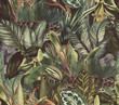 canvas print picture - Tropical pattern with clouded leopard and tropical flowers. Seamless pattern with orchids and wild cat.