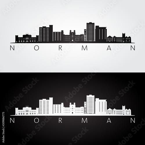 Photo Norman, Oklahoma USA skyline and landmarks silhouette, black and white design, vector illustration