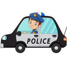 Cartoon Officer Police Driver Car