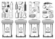 Trash Recycling Bins Icons, Pl...